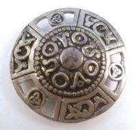 Vintage Pewter St Justin Celtic Shield Style Pewter Brooch.